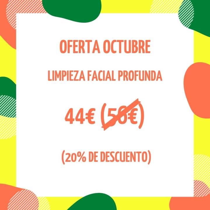 ¡Oferta octubre! El 20% de descuento en limpieza facial profunda!